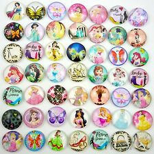 20pcs Assorted Round Glass Flatback Cartoon Princess Design Embellish DIY 18MM