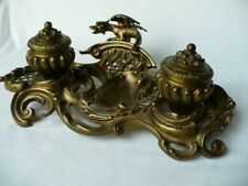 Antique French Bronze 19th Century Ormolu Dragon Inkwell Elegant Scrolls Lattice