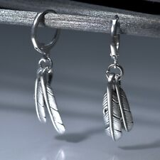 Silver stud stainless steel feather dangle drop Leverback earrings Sydney stock