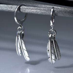 Silver stud stainless steel feather dangle drop Leverback earrings Sydney stock