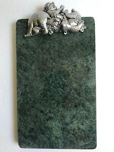 Vtg ARTHUR COURT 1992 Cheese Charcuterie Board Tray Green Marble Bears Leaves