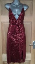 Ladies Misguided Sequin Wrap Dress Size 14 Plum Red