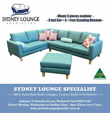 AUSTRALIAN MADE Miami 3 pc Corner Modular Chaise with Ottoman Sofa Lounge Couch