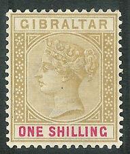 Gibraltar 1898 Bistre/carmín 1/- SG45 Perfecto