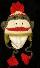 deLux GREEN SOCK MONKEY HAT knit FLEECE LINED mens womens ADULT St Patricks Day