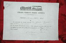 Strada Ferrata Maria Antonia - Firenze Locazione di Terreno 1854