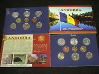 ANDORRA 2003 SET 7 MONETE PRE - EURO + 2 da 1EURO in FOLDER ORIGINALE UFFICIALE