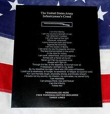 Personalized US ARMY Infantryman's Creed Plaque, gift, CIB badge, EIB, granite