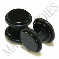 "2011 Black Fake Cheater Illusion Faux Ear Plugs 16G Bar - 7/16"" = 11mm BIG! 2pcs"