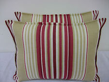 1 NEW CUSHION COVER MADE IN LAURA ASHLEY FABRIC IRVING STRIPE CRANBERRY