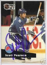 SCOTT PEARSON Quebec Nordiques 1992 PRO SET  AUTOGRAPHED HOCKEY CARD JSA