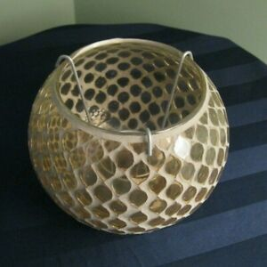 """Amber Gold Mosaic Glass Votive or Tealight Candle Holder 5"""" H x 4"""" D"""