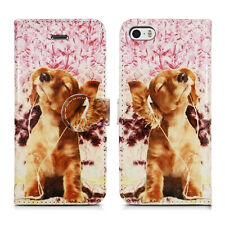 Leather Wallet Flip Book Phone Card Holder Pouch Fone Case for Apple iPhone 5 5g Relaxing Dog - Headphones Music Entertainment