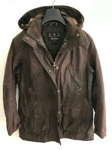 Womens Barbour Hooded / Padded Jacket Coat size 12/14 M/L Brown Wax Cotton Parka
