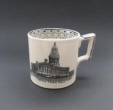 Rare Antique LEEDS TOWN HALL Commemorative Mug – J Emberton, Tunstall. 1881-85