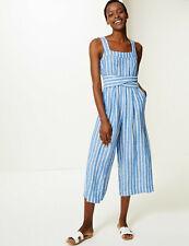 M&S Pure Linen Striped Cropped Wide Leg Jumpsuit Size 8 Long BNWT