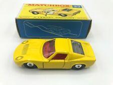Matchbox Lesney #33 Lamborghini Miura In Original Box (Very Rare) Yellow Ch Whls