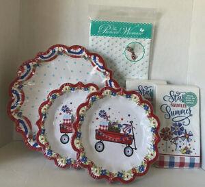 Pioneer Woman Patriotic Holiday Patriotic Wagon Paper Plates Napkins [24 Guests]