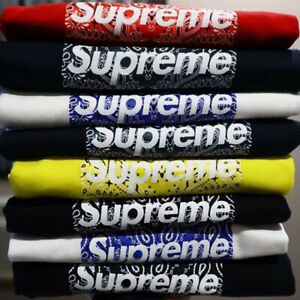 For Supreme 19FW Bandana Box Logo Tee Bogo Short Sleeve T-shirt Men Women Tee
