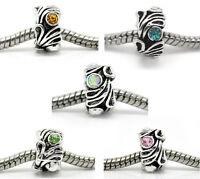 40 New Mixed Silver Tone Rhinestone Flower Beads Fit Charm Bracelet 12x8mm