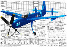 "Model Airplane PLANS 45 1/2"" Span Rubber Powered Freeflight 1/16 Scale Guardian"