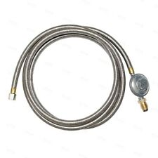 """10' Braided Stainless Steel LP Propane Natural Gas Grill Hose Regulator POL 3/8"""""""