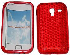 Per SAMSUNG GALAXY ACE PLUS GT S7500 PATTERN Gel Custodia Protettiva Cover Rosso Nuovo Regno Unito