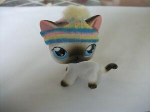 littlest petshop chat européen 05 gris oreilles rose et bonnet authentique