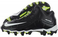 NEW YOUTH Nike ALPHA SHARK 2 GS 3/4 sz 3Y BLACK WHITE Lacrosse Football Cleats