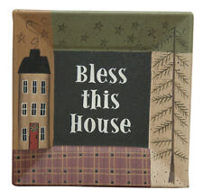 """Primitive Country """" Bless This House """" Square Decorative Wood Plate 8"""""""