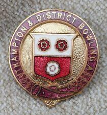 Vintage Southampton & District Bowling Association Enamel Pin Badge by Miller