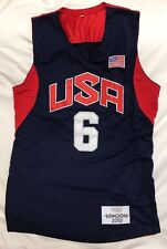 Sewn Lebron James 2012 London Olympics USA Basketball Blue Jersey Mens M
