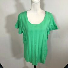 D & Co. Denim + Company Women Blouse Top Casual Shirt Size Large Green - E138