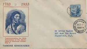 #734-19 Thaddeus Kosciuszko Unknown cachet First Day cover Buffalo NY