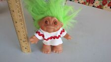 """Vintage Dam Troll Doll Green Hair White  outfit with Red rick/rack 1986 4.5"""""""