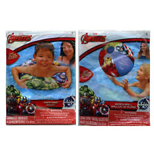 Marvel Avengers Inflatable Swim Ring Tube + Pool Beach Ball Toy Set Kids 3+ NEW