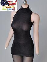 """1/6 female sleeveless turtleneck mini dress for 12"""" figure hot toys Phicen ❶USA❶"""