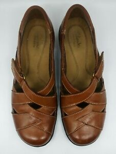 Women's Clarks Bendables Caramel Leather Loafers Shoes Size 7 -  60410