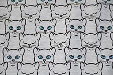 Printed Stretch Jersey Knit Sweatshirt Fabric Blue-eyed Cats  -  HalfMetre