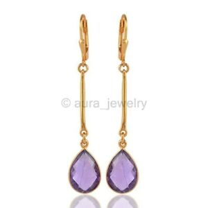 18K Gold Plated Sterling Silver Drop dangle Earring with Natural Amethyst E1004