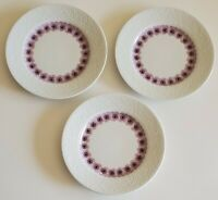Hutschenreuther Salad Plates Pink Pansies Embossed Rim Set of Three (3) Germany