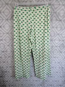 No Boundaries Sleepwear Pants Size L 11 13 Juniors Green Clovers Elastic Waist