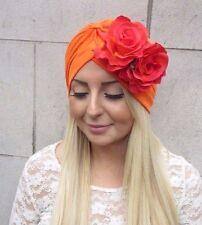 Orange Rose Flower Turban Headpiece 1950s Rockabilly 1940s Floral Hair Vtg 2480