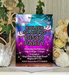 Personalised Roller Skating Disco Party Birthday Invitations Invites