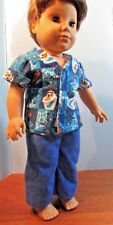 "homemade 18"" american girl/boy  logan pajama doll clothes d blue olaf"