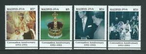 Maldives SG1805-1808 1993 40th Anniversary of the Coronation Unhinged Mint