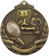 Rugby Two Tone 3d 50mm Diameter Medal Inc Neck Ribbon / Engraving