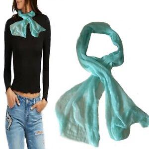 Foulard donna uomo estivo leggero tinta unita turchese sciarpa scialle lungo