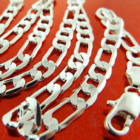 NECKLACE CHAIN GENUINE REAL 925 STERLING SILVER S/F SOLID FIGARO LINK DESIGN