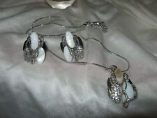 NECKLASE WITH CLIP ON EARRINGS SET BLA/WHITE STONE 18 in CHAIN 2 in SAFETY CHAIN
